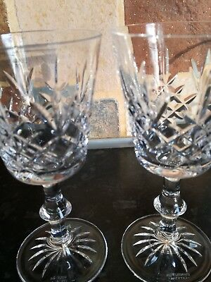 "Edinburgh Crystal X2 'LOMOND' Stunning White Wine Signed Glasses 5.5"" Tall"
