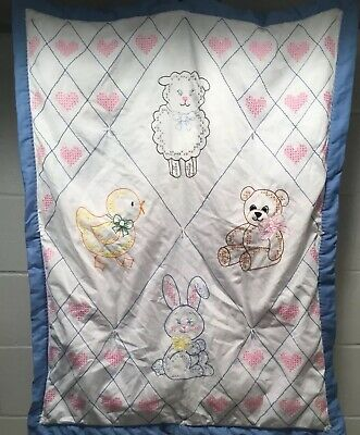 Handmade Quilted Baby Blanket Embroidery Cross Stitch Animals Duck Bear Bunny