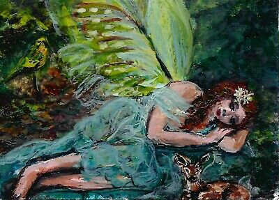 ACEO Original Art Painting Forest Fairy by Svetlana Rastyapina