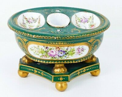 Antique French Victorian ~Sevres~ Gilt Porcelain Footed Inkwell Painted Flowers