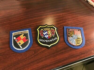 three embroidered patches - Germany Patches - Wurzburg, Grafenwhhr, and Bayern
