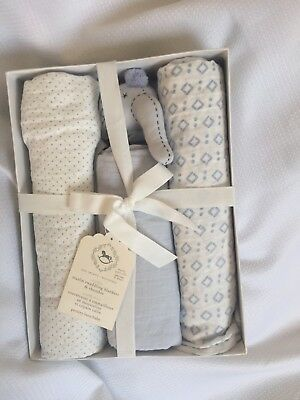 Pottery Barn Baby Muslin Elephant Thumbie & 3 Swaddle Set, Light Blue New in box