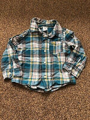 Carters blue checked long sleeved shirt top with pocket baby boys 12-18 months c