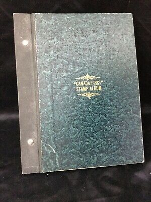 """Vintage Stamp Album """" Canada First """" Stokes, Toronto ,1940's, With Stamps (used)"""