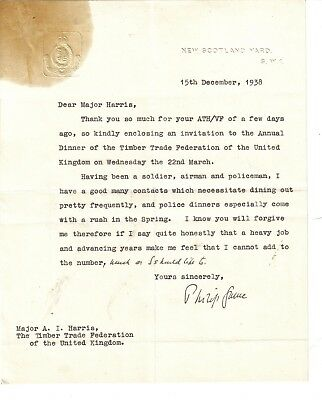 Air Vice-Marshal Sir Philip Game - Governor of New South Wales -1938 letter: NYS