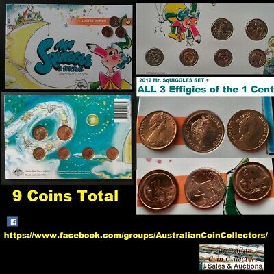 2019 Mr Squiggle 7 Coin Set 4x$2  2x$1 One  3x1 Cent Coins in Folder - 9 COINS