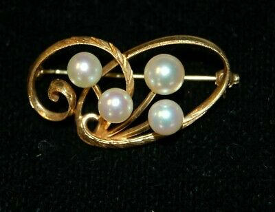 Vintage Mikimoto 14K gold pearl bouquet pin ribbon swirls