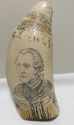 Vintage Faux King George III Whales Tooth Style Reproduction Scrimshaw Sculpture