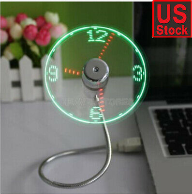 LED Fan Mini USB Clock Fan Powered Cooling Flashing Real Time Display Function