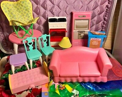 Lot of Vtg Step2 Barbie Mattel Doll House Furniture Set Inflatable Bowling Rare