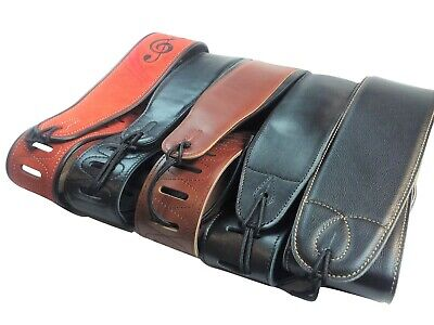 """Quality Leather 3"""" Wide Acoustic Electric Guitar Bass Strap Thick Padded"""