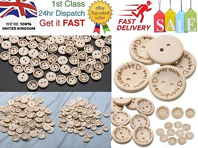 HANDMADE WITH LOVE 2 Hole Craft Wood Buttons Scrapbooking DIY Crafting Sewing UK