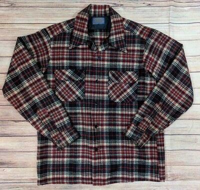 VTG Pendleton Mens Size Medium Blue Red Plaid Wool Button Down Shirt Hunting