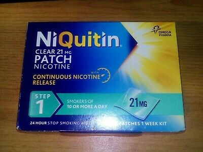 New Boxed Niquitin 7 X Clear 21Mg Patches Nicotine Step 1 Expiry 09/2020 Smoking
