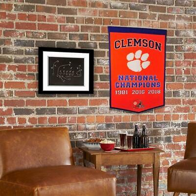 """Clemson Tigers Wool National Champions Banner Dynasty Football 24""""x36"""" Mancave"""