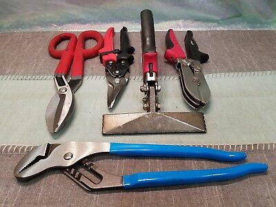 Lot Of  5 Hvac, Sheet Metal Tools, Malco S6R, C5R, Swiss & Channellock Exc. Cond