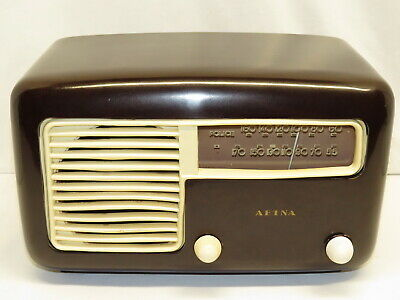 Aetna By Detrola Art Deco Bakelite Plastic Case AM Tube Radio Model 571BX  Works