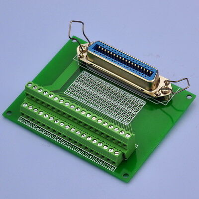 "36-Pin 0.085"" Centronics Vertical Female Ribbon Connector Breakout Board."