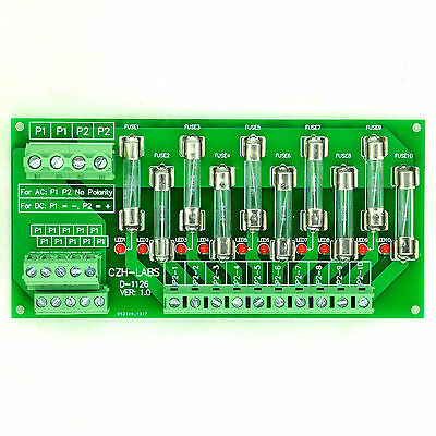 Panel Mount 10 Position Power Distribution Fuse Module Board, For AC230V