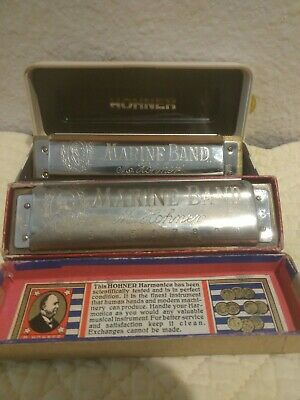 Antique And Vintage Marine Brand Harmonica Lot Two 2