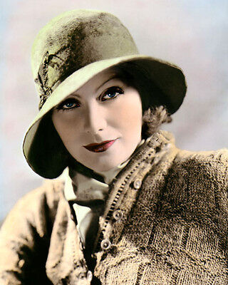 "GRETA GARBO A WOMAN OF AFFAIRS 1928 ACTRESS 8x10"" HAND COLOR TINTED PHOTOGRAPH"