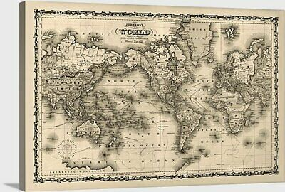 "Antique World Map - 1861 - Stretched canvas print - 40"" x 27"""
