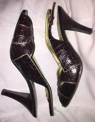 223c9bd47a53 NICKLES Brown Open Toes Slingback Shoes High Heels Golden Trim Size 9.5M