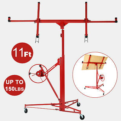 11' Drywall Panel Rolling Lifter Dry Wall Hoist Jack Caster Lockable Lift Tool