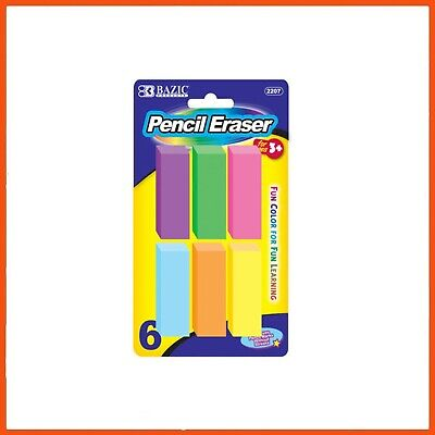 24 x NEON PENCIL ERASER SET | 6 Pack Soft Non-Abrasive Pencil Rubber Stationery