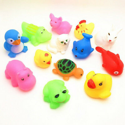 5/10/13x cute Animal Soft Rubber Float Squeeze Baby Wash Bath Toy children play
