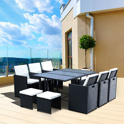 Outsunny 11pcs Rattan Furniture Patio Wicker Dining Set Table Chair Deck
