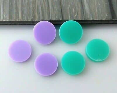 2pc 12mm Acrylic Circles - Aqua Green Lilac Purple Earring Supplies Australia