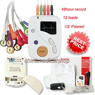 Dynamic ECG Holter 48 hours recorder/analyzer/Monitor 12 channel EKG Cardiac CE
