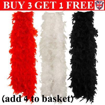 2M 15 Color Black Red Feather Boa Hen Night Parties Deluxe Showgirl Fancy Dress