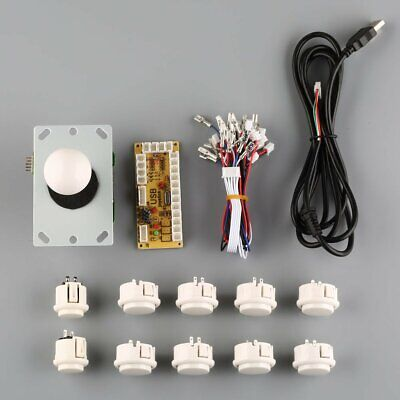 US Arcade DIY Kits Parts USB Encoder To PC China Sanwa Joystick + White Buttons