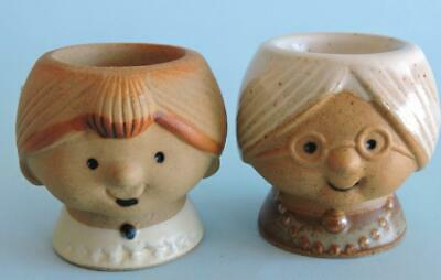 GEMPO GRANDMA and GRANDDAUGHTER EGG CUPS CUTE AS BUTTONS GREAT CONDITION