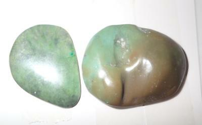 Turquoise Rough Stone Surface Flat Bottom Free Form Cab 93.5 Carat 2 pieces