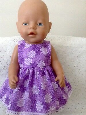 """Handmade Dolls Clothes for 43cm/16 """" Baby Born ~ CPK Doll ~ Lilac flowers Dress"""