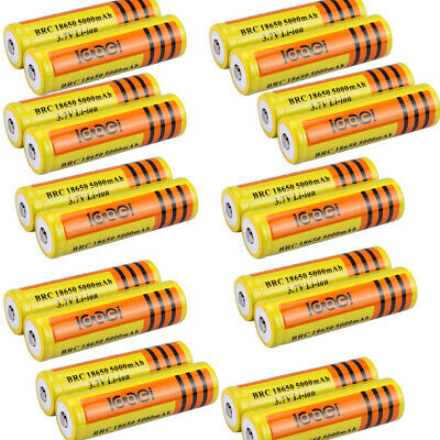 Lot 18650 3.7V 5000mAh Yellow Li-ion Rechargeable Battery For Torch Flashlight