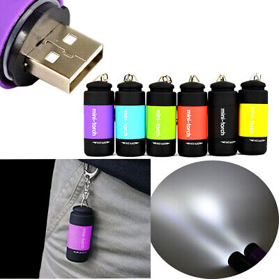 Mini Torch USB Rechargeable Led Flashlight Waterproof Keychain Torch  Lamp Light
