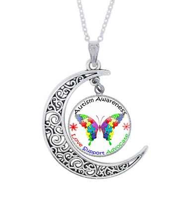 Autism Awareness Photo Tibet Silver Cabochon Glass Crescent Moon Necklace