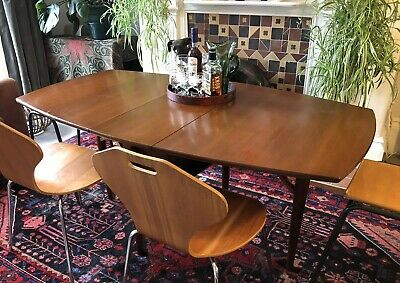 Slimline MODERNIST vtg MID CENTURY drop leaf TEAK DINING TABLE retro DANISH
