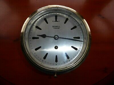 Vintage Sewell of Liverpool Brass Ships Clock. Good Working Order
