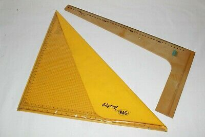 W&g Adgauge Technical Drawing Triangle Ruler & Large Gauge - Used