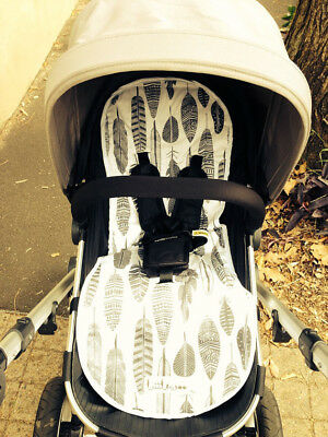 Pram/stroller/buggy liner cotton - cute feather print, black and white