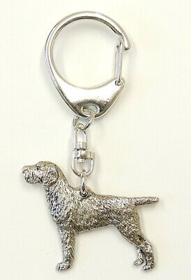 German Wire Hair Pointer Dog Silver Keyring