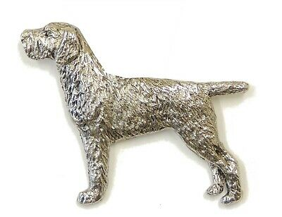 German Wire Hair Pointer  Brooch, Silver Finish
