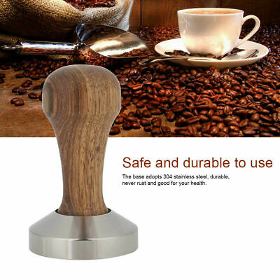 51 / 53 / 58mm Stainless Steel Tamper Espresso Coffee Stamper Base Wooden Handle