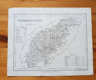 19th Century Engraving Map Of Northamptonshire DUGDALES