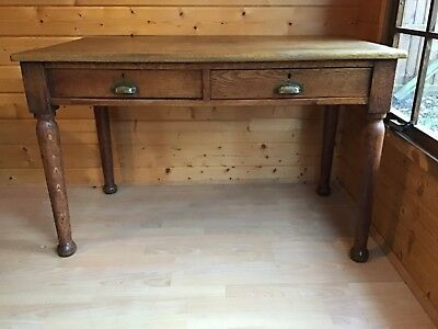 Antique Solid Oak Teachers Table